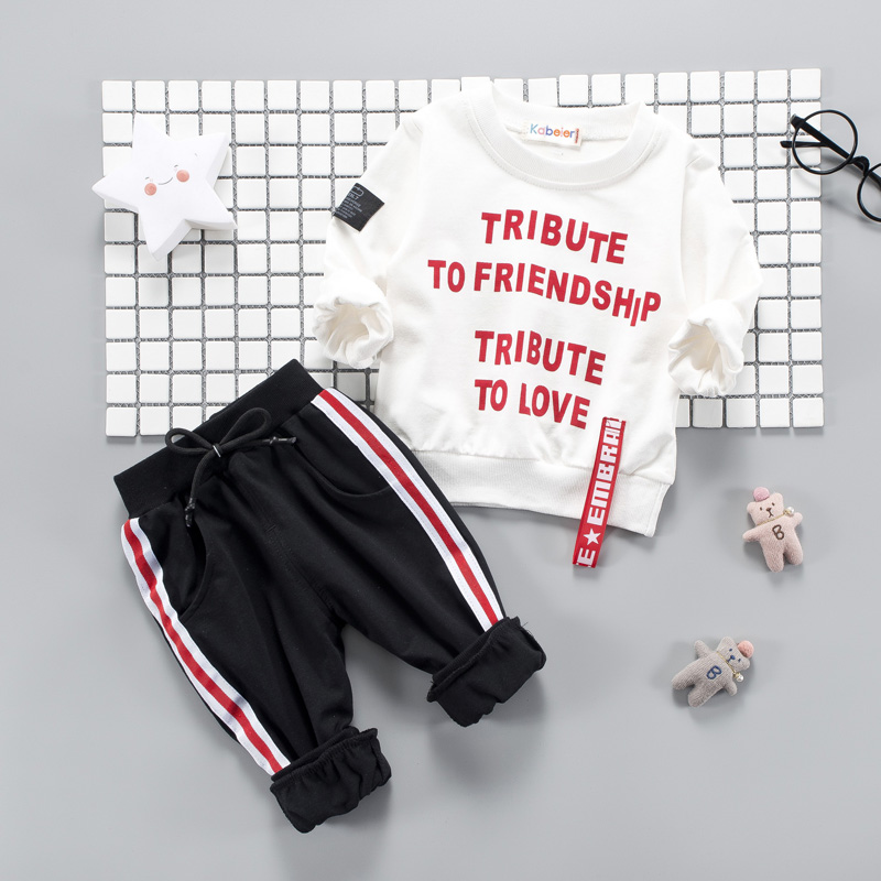 Kids Baby Tottler Girl Boys Clothing Set 2018 Causal Letter Long Sleeve Tshirt + Striped Pants 1 2 3 4 Years Children Clothes iyeal fashion baby boys clothes set cotton long sleeve tops vest pants 3 pieces suit for kids boy children clothing 1 4 years