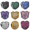 WYBEADS Unique Silver Charm Hearts Pave Prong Setting Cubic Zircon Charms For European Bracelet DIY Jewelry