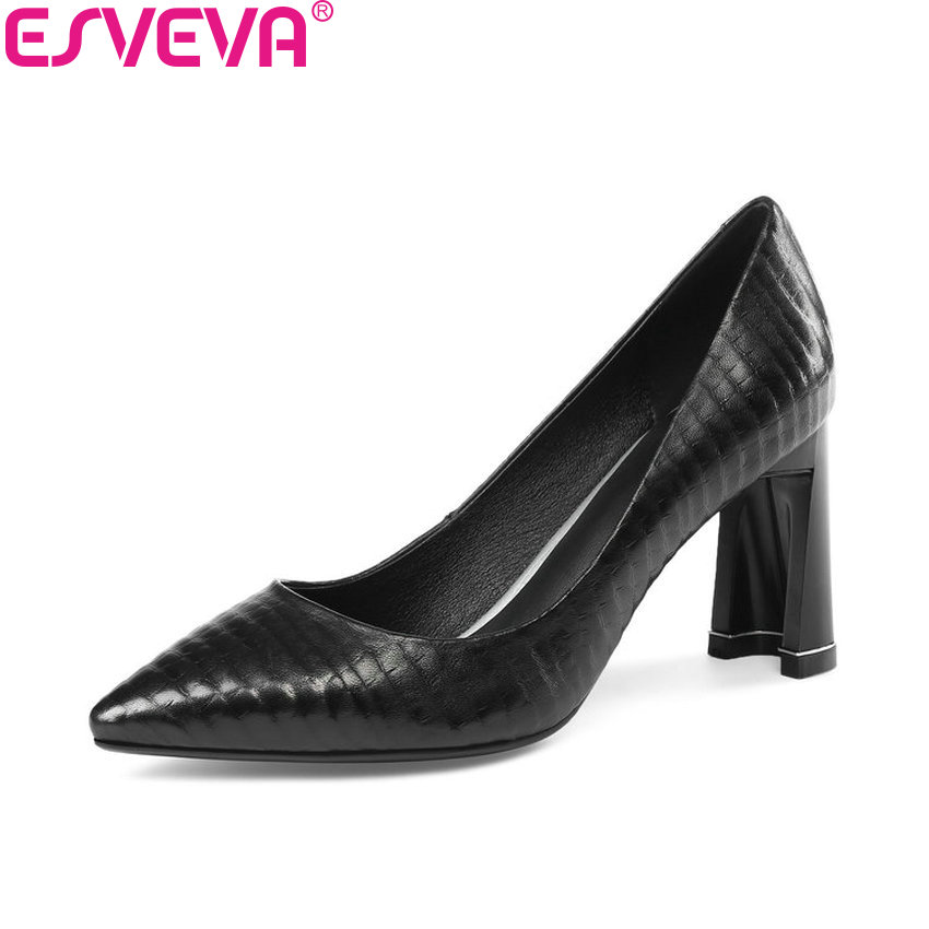 ESVEVA 2018 Women Pumps Black Sheepskin PU Square High Heels Spring and Autumn Pointed Toe Slip on Pumps Women Shoes Size 34-43