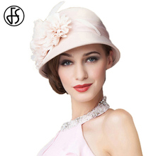763828931e018 FS boda sombrero para las mujeres elegantes 100% fieltro de lana Floppy ala  señoras albaricoque
