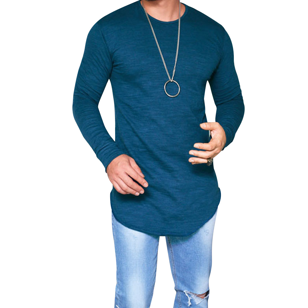 Muscle Tee Men's Slim Fit O Neck Long Sleeve  Shirts Casual T-shirt Tops Blouse