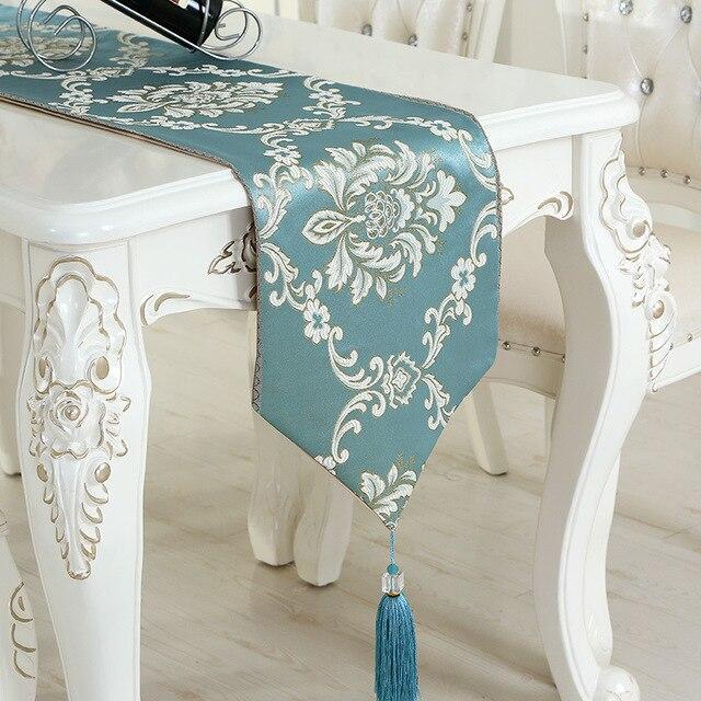wliarleo luxury table runner satin fabric blue beige embroidered