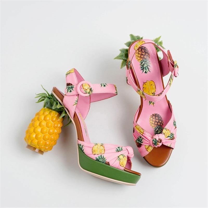 Imprimer plate forme sandales femmes talons hauts talon étrange chaussures d'été pour femmes confortables dames sandales chaussures élégantes-in Sandales femme from Chaussures    2