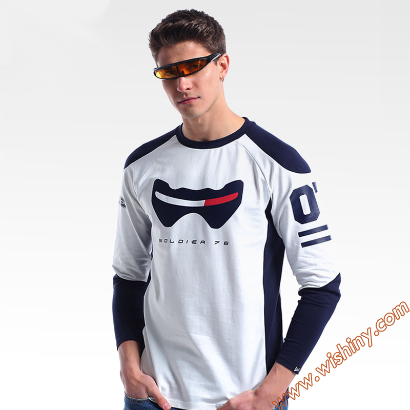 Cool OW Soldier 76 T-shirt Lucio Reaper Genji tshirt Long sleeve OW Hero Baseball Tee shirt Men 3XL