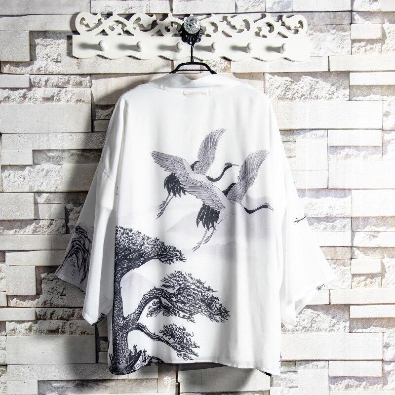2019 Japanese Kimono Cardigan Men Wave And Carp Print Long Kimono Cardigan Men Mens Kimono Cardigan Coat