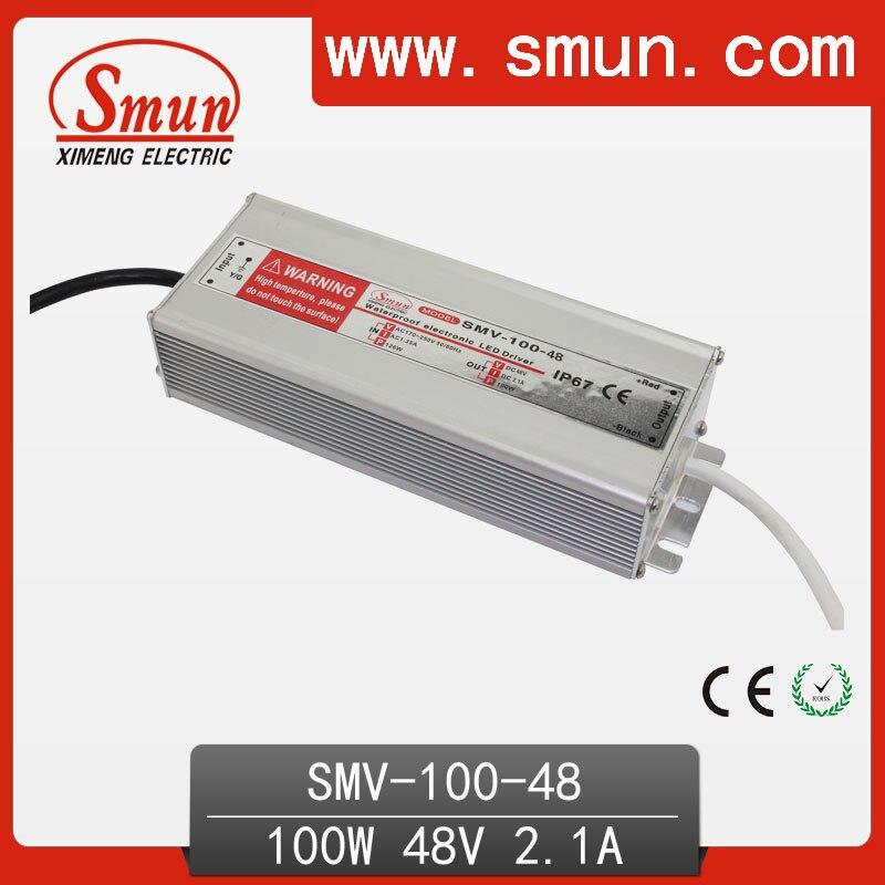 Наружный водонепроницаемый IP67 Светодиодный драйвер 100 Вт 48 в 2 А, светодиодный источник питания с CE RoHS SMV-100-48