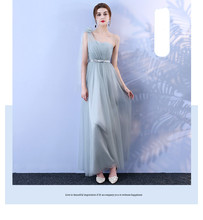 Grey Bridesmaid Dress Long Style One-shoulder Mesh  Dress  Banquet Wedding Party Back of Bandage grey one shoulder long sleeves midi dress