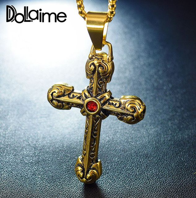 Dolaime Vintage Style Cross Pendant Jesus Christian Jewelry Red