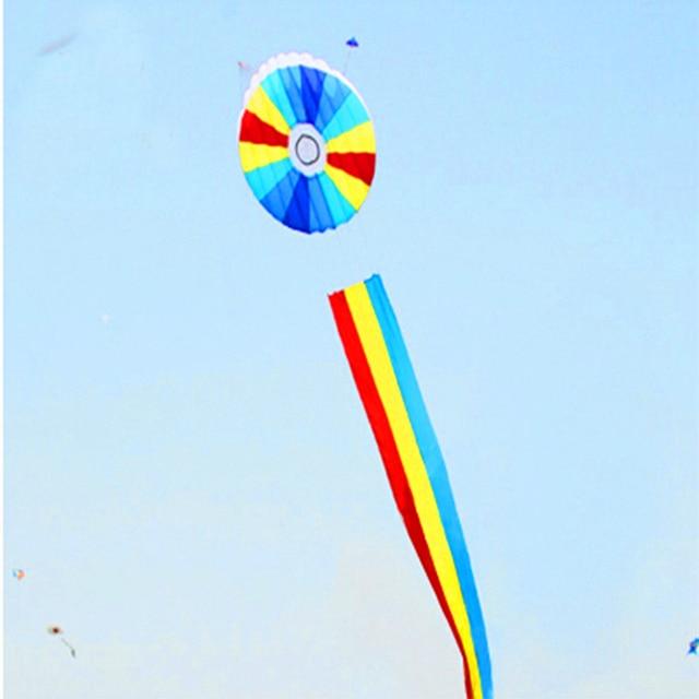 O envio gratuito de alta qualidade 10 m kite suave kite voando cor de halo linha andar no céu ripstop nylon biruta volantines brinquedos para se divertir