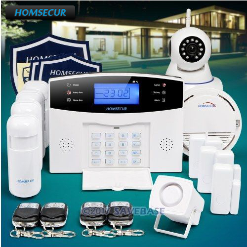 HOMSECUR 433Mhz Wireless&wired LCD GSM Burglar Intruder Alarm System+Wireless IP Camera for Home Security homsecur wireless