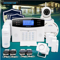 HOMSECUR 433Mhz Wireless&wired LCD GSM Burglar Intruder Alarm System+Wireless IP Camera for Home Security