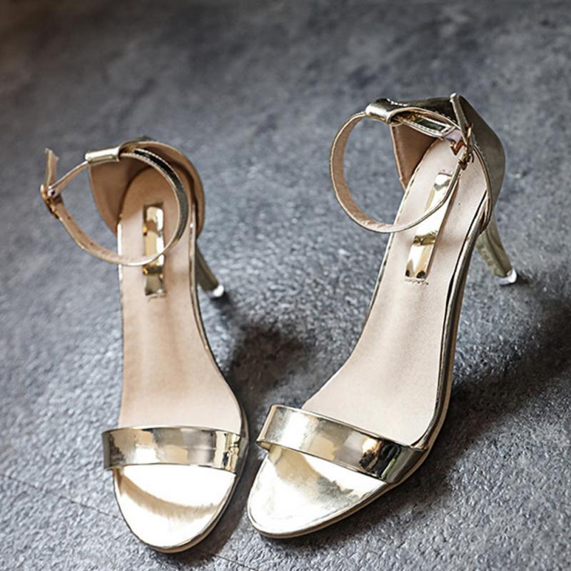 Fashion Office Lady Style Daily Wear Women's Summer Metallic Strap Block Fine Heels Ankle Strap high heel Sandals stiletto metallic ankle strap heels
