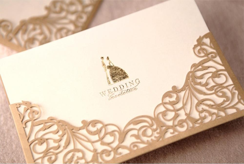 50pcs Design Floral Laser Cut Elegant Gold Wedding