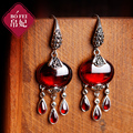 925 Sterling silver Natural Semi-precious stone Garnet Retro fashion Dangle Earrings Women jewelry accessories girlfriend gift