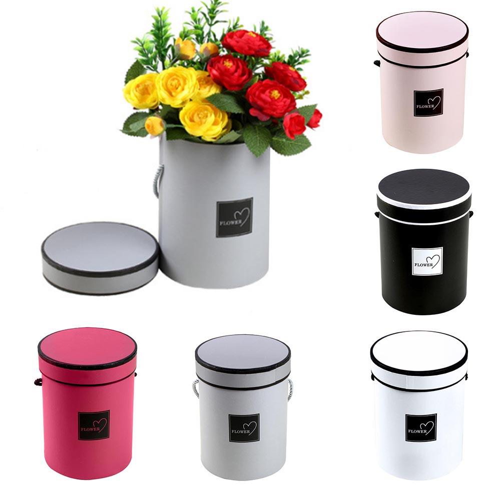 Handheld Flowers Bouquet Mini Paper Packing Box Case With Lid Hug Bucket Florist Gift