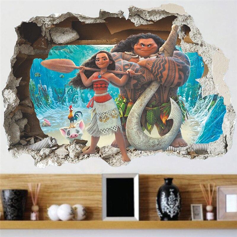 US $1.28 8% OFF 3d effekt Moana wandaufkleber für kinderzimmer cartoon film  vaiana wandtattoos pvc Moana Maui poster diy wand papier poster-in ...