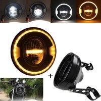 7 zoll Motorrad LED Scheinwerfer für H-Davidson und 7 Zoll Gehäuse Eimer/Trim Ring für Motorrad