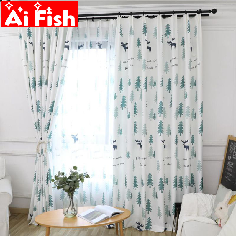 Curtain Cute Living Room Valances For Your Home: Simple Modern Green Pine Forest Personality Blackout