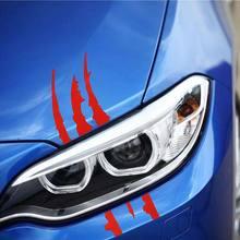 Sekinnew 40 センチメートル * 12 センチメートル車反射モンスター車のステッカー黒/白/赤スクラッチストライプ爪マーク車の自動車ヘッドライトビニールデカール