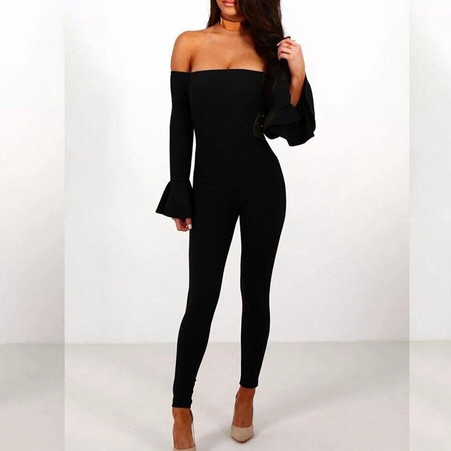 Manches Combinaison L'épaule Sans Robe Bandage À Sxey Élégant Celebrity Longues Dos De 2019 Femmes Noir Bretelles Mode Nu Moulante qFxz4w