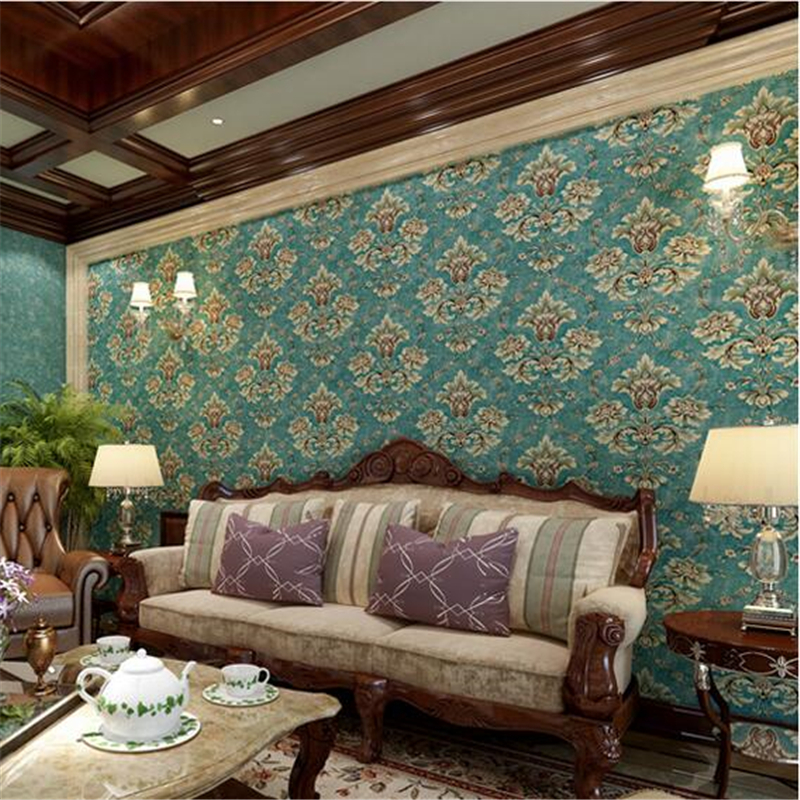 ФОТО beibehang papel de parede,European pastoral retro non-woven wallpaper Damascus paved the blue-green living room bedroom