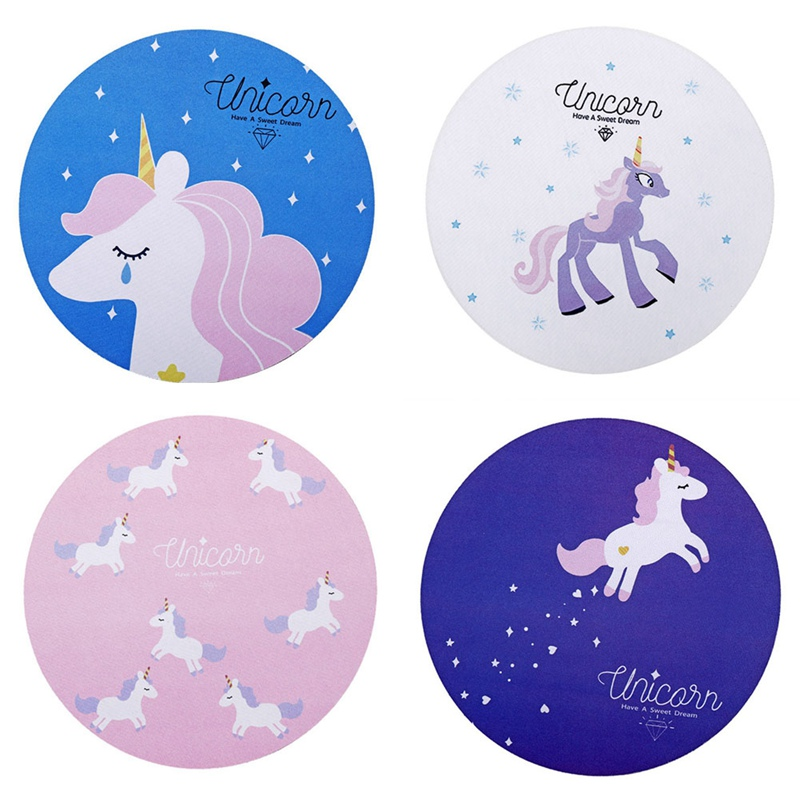 Cute Kawaii Unicorn round mouse pad Home computer skid table mat Mousepad Colorful for Kids Horse Cartoon Printing(China)