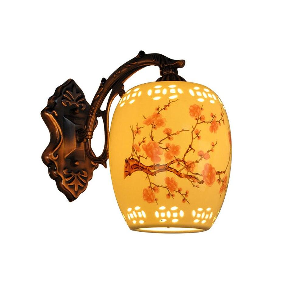 2017 Fashion New Retro Ceramics Led Wall Lamp Indoor Lighting 111V 240V Iron Classical E27 Chinese