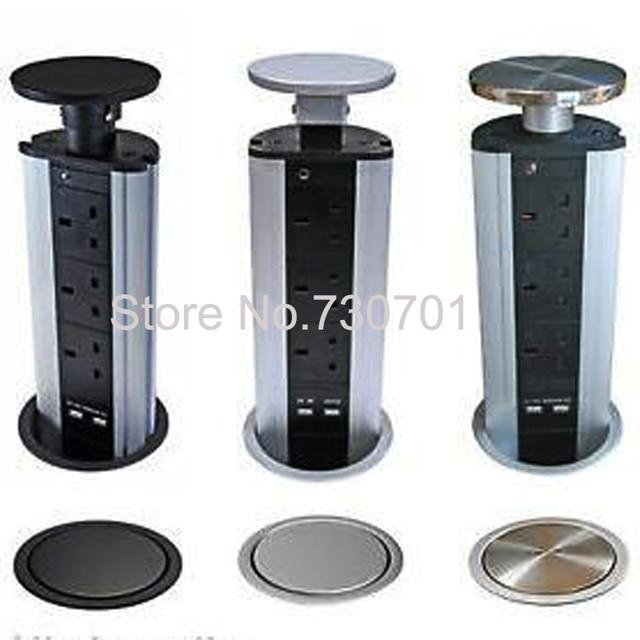 Vertical Pull Pop Up Electrical Plug Socket 2 Usb Kitchen Worktop Black Silver Steel Top
