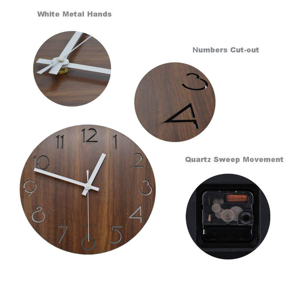 12 inch Creative Wall Clock Vintage Arabic Numeral Design Rustic Country Tuscan Style Wooden Decorative Round Wall Clock 13