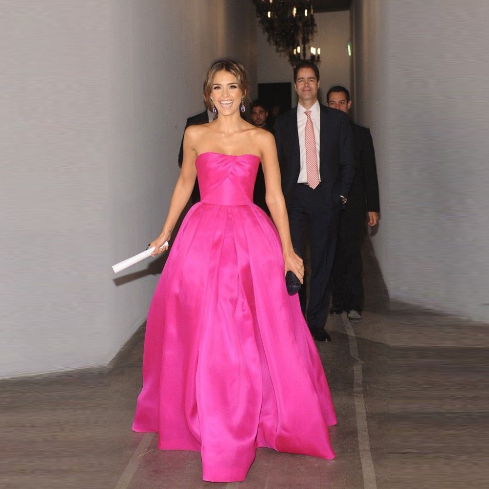 Rosado brillante De moda simples vestidos De bola Fushia baile ...