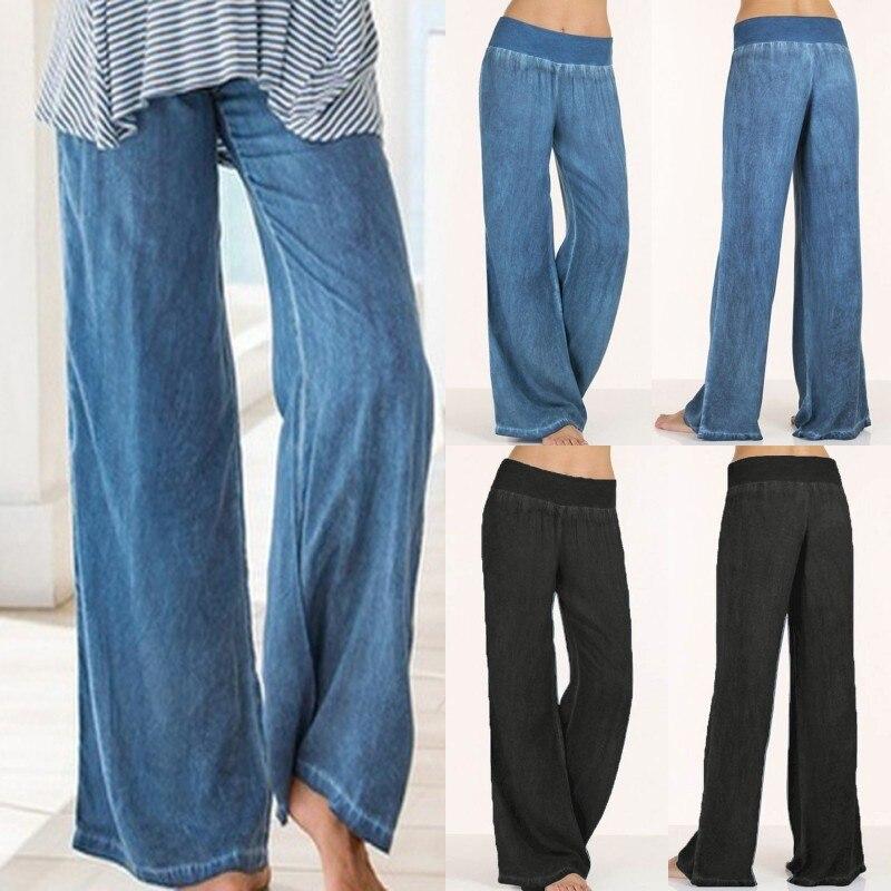 Más tamaño S 4XL Pantalones mujer alta cintura Long Harem Pantalones Casual  Denim azul plisado Pantalón ancho negro pantalones partido palazzo en  Pantalones ... a6009a5c369e
