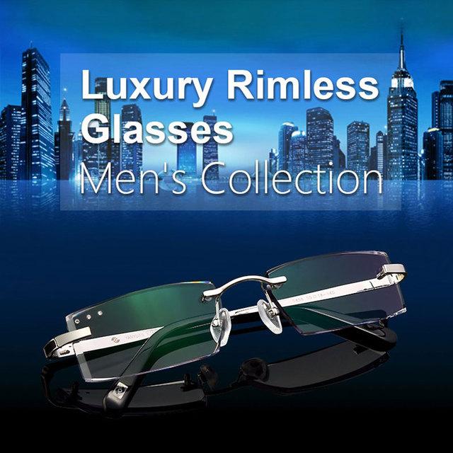 Mujeres hombres marco de la prescripción óptica gafas de marca original titanium marco sin rebordes de la silueta de aleación