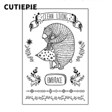 Bear Hug Cute Girl Transparent Clear Stamps for Scrapbooking DIY Silicone Seal Photo Album Embossing Folder Paper Template Sheet