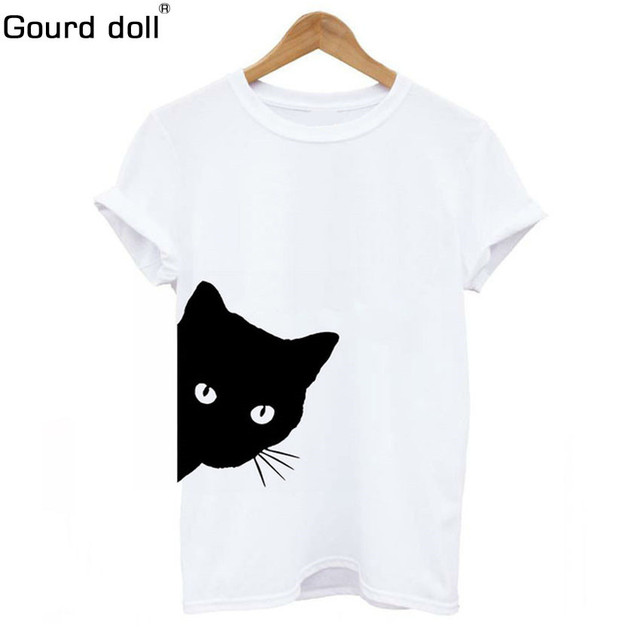 Cat Looking Out Side Print Women tshirt Cotton Casual Funny T shirt Women For Lady Girls Female Top Tee Hipster Tumblr Drop Ship