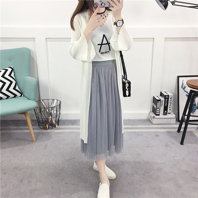 Long Cardigan Women White Thin Soft Poncho Cape unif Summer ...