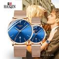 HAIQIN Paar Uhren 2019 Neue Top Marke Luxus Mode Quarz Wasserdichte Frauen Uhr Mesh Edelstahl Uhr zegarek damski