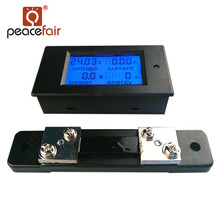 PEACEFAIR DC Digital Power Meter 6.5-100V 50A 4 IN1 LCD Voltage Current Watt Kwh Energy Meter PZEM-051 With 50A Shunt 50a