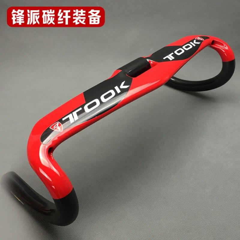 TOSEEK Full Carbon Fiber 31.8mm Handlebar BMX Road Bike Bent Bar Handlebar 400/420/440mm Gloss Red Ox Horn Handlebar Bicycle Handlebar     -