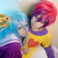Beauty Forever Hair No Game No Life Sora Rose Red And Purple Color Mixed Wig Shiro Multi-Color Mixed Cos Wigs + Free Wig Cap