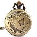 Флеш Шаблон Покер Ожерелье Смотреть Vintage Style Бронзовый Подвеска Сеть Часы Кварцевые Карманные Часы Бесплатная Доставка Рождественский Подарок P80