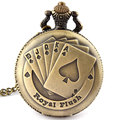 Flush Poker Pattern Necklace Watch Vintage Style Bronze  Pendant Chain Clock Quartz Pocket Watch Free Shipping Xmas Gift P80