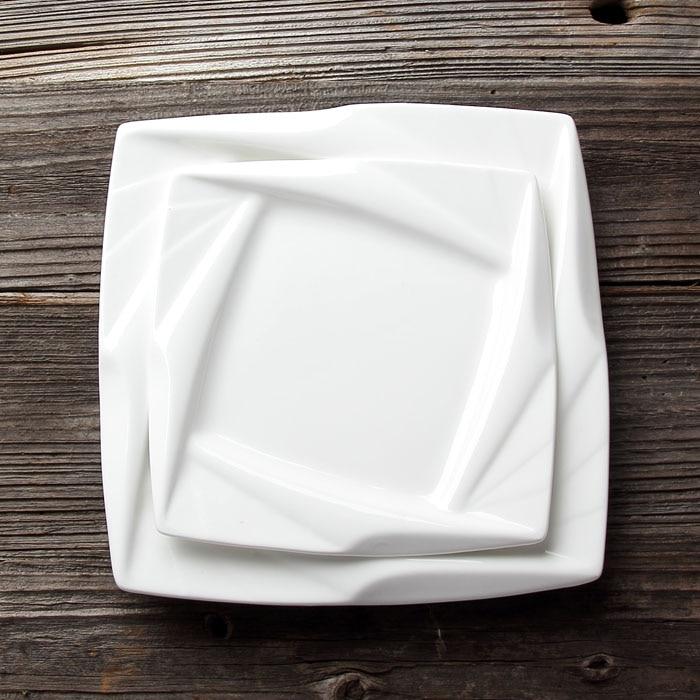 8'' 10'' Square Kaleidoscope Ceramic Dinner Plate Porcelain Reception Serving Dish Dinnerware