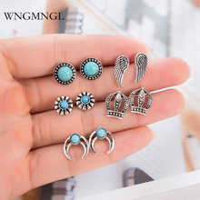 WNGMNGL 5 Pairs/Set Female Earrings Vintage Silver Color Wings Crown Horn Stud for Women 2018 New Charm Fashion Jewelry