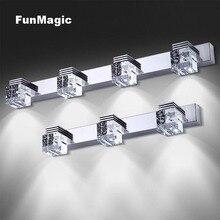 цена K9 Crystal Modern Stainless Steel LED Front Mirror Light Wall Lamp Bathroom Makeup Vanity Wall Mounted Fixture Sconces Lighting онлайн в 2017 году