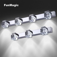 K9 Crystal Modern Stainless Steel LED Front Mirror Light Wall Lamp Bathroom Makeup Vanity Wall Mounted Fixture Sconces Lighting