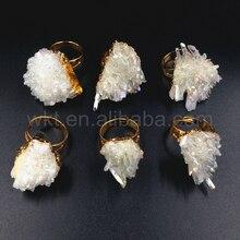 Женское кольцо в форме ангела, 10 шт., золотистого цвета, с кристаллами кристаллами, кварцевое кольцо, ювелирные изделия
