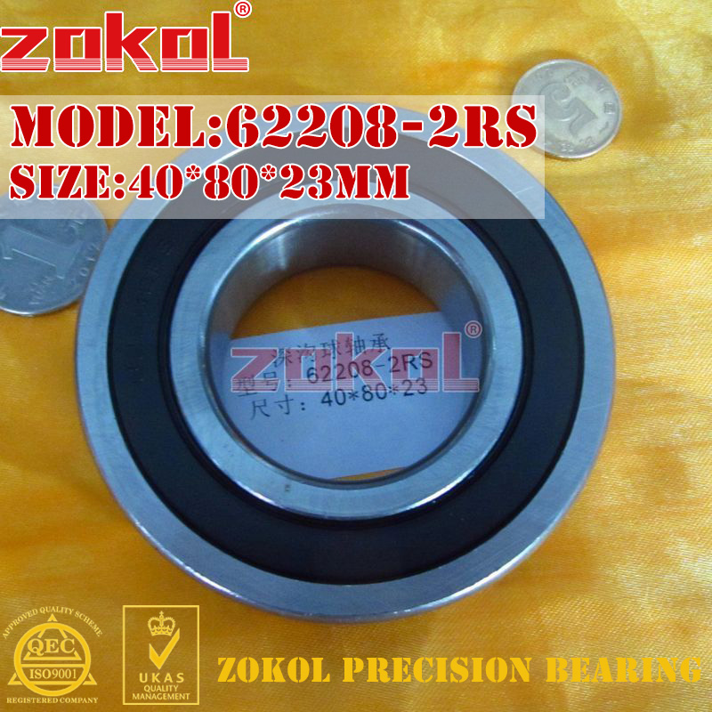 ZOKOL 62208RS Bearing 62208 2RS 180508 62208-2RS Deep Groove Ball Bearing 40*80*23mm