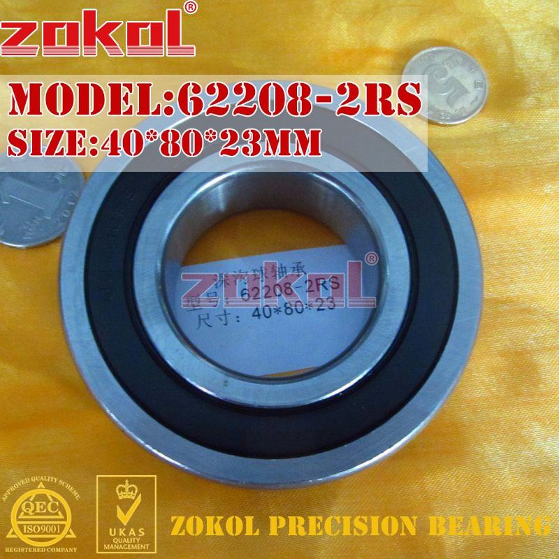 ZOKOL 62208RS Bearing 62208 2RS 180508 62208-2RS Deep Groove Ball Bearing 40*80*23mm