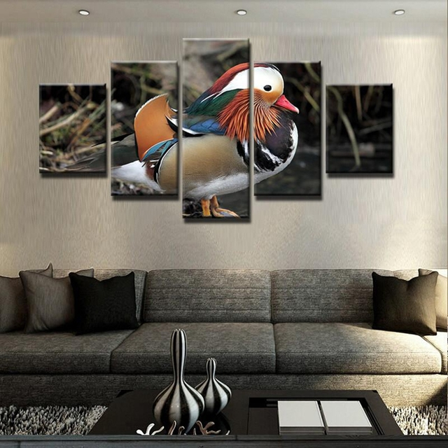 5 Panels Mandarin Duck Paintings Animals Birds Home Wall Decor Canvas Pictures Art Hd Print Painting