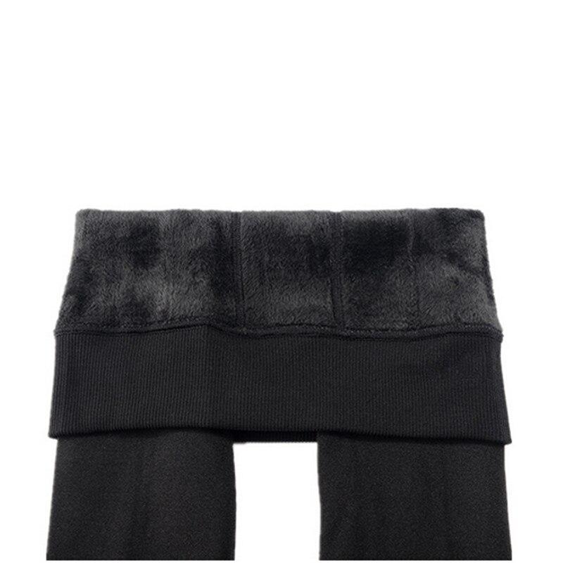 CHRLEISURE Warm Women s Plus Velvet Winter Leggings Ankle Length Keep Warm Solid Pants High Waist